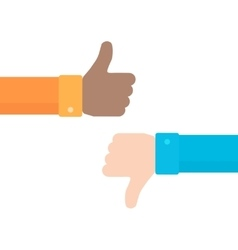 Thumbs up and down icon in flat style vector image