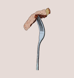 beef steak on fork sketch vector image