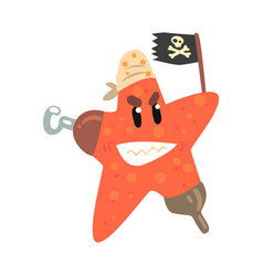 funny cartoon starfish pirate holding black flag vector image vector image