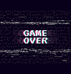 game over glitch background retro game backdrop vector image