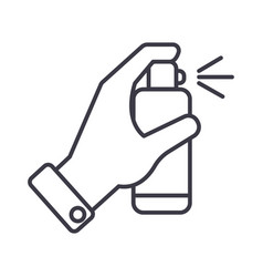 hand with spray line icon sign vector image vector image