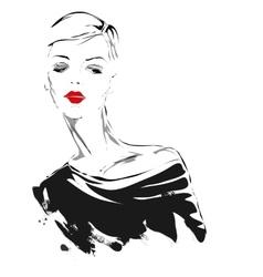 Modern girl sketch red lips vector image