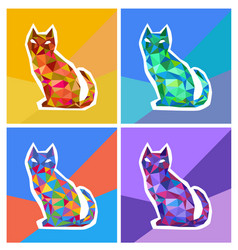abstract polygonal colored cats vector image