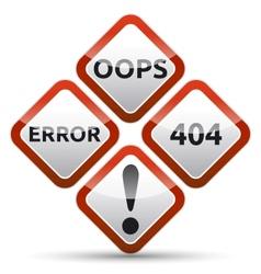 Error 404 Warning Sign vector image vector image
