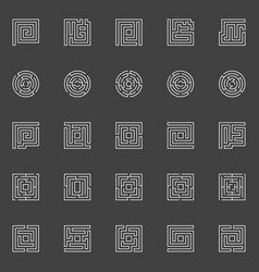 labyrinth linear icons vector image