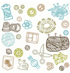 sewing kit doodles vector image