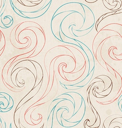 vintage spirals lines seamless pattern pattern vector image