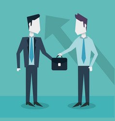 colorful background with businessmen exchanging vector image
