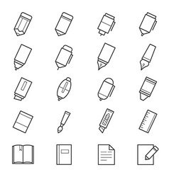 Drawing and Writing Painting Tools Icons vector image vector image
