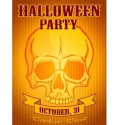 Halloween party background with human skull vector