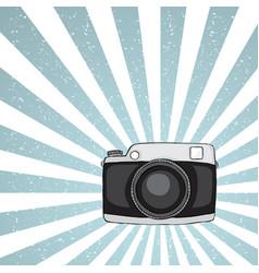 hipster camera on grunge background vector image