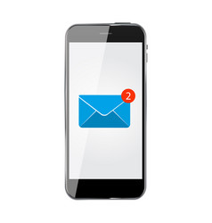 realistic mobile phone with email icon vector image