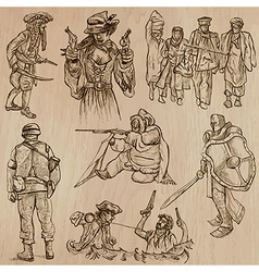 Warriors and Soldiers - Hand drawn vector image