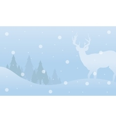 Winter christmas deer landscape of silhouettes vector