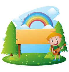Wooden sign template with boy playing guitar vector