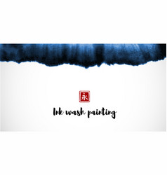 Abstract blue ink wash painting in east asian vector