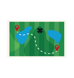 Adventure map with lakes and destinations vector