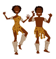 African tribe man and woman in animal skin and fur vector