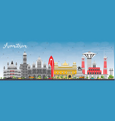 amritsar skyline with gray buildings and blue sky vector image
