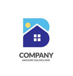 b letter house vector image