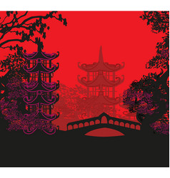 Beautiful abstract asian landscape vector