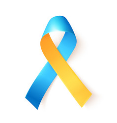Blue yellow ribbon over white background template vector