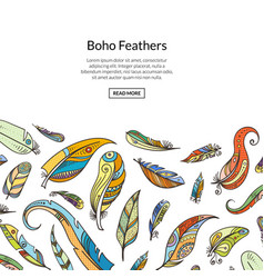 Boho doodle feathers background vector
