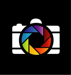 Camera with colorful aperture- photography logo vector