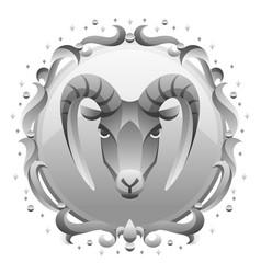 capricorn zodiac sign with silver frame horoscope vector image