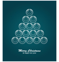 Christmas card with white tree and balls on blue vector