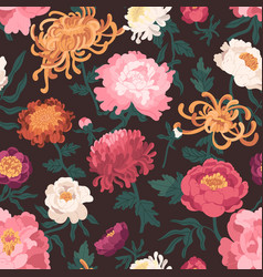 colorful seamless pattern with blooming garden vector image