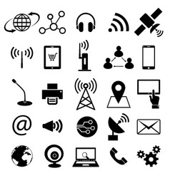 Communication technology icon set vector
