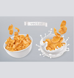 Corn flakes and milk splashes 3d realistic icon vector