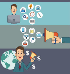 Digital marketing man network money social media vector