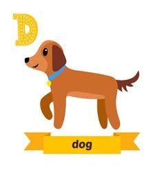 Dog d letter cute children animal alphabet vector