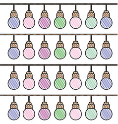 Doodle nice bulbs hangings decoration background vector
