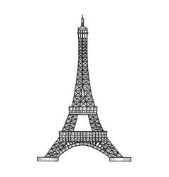eiffel tower sketch engraving vector image