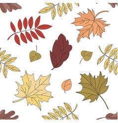 fall landscape leaves seamless pattern illu vector image