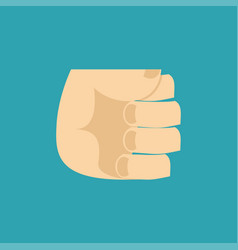 Fist isolated hand brush on blue background vector