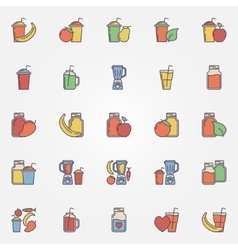 Flat smoothie icons set vector