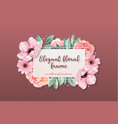 Floral charming frame design with anemone peony vector