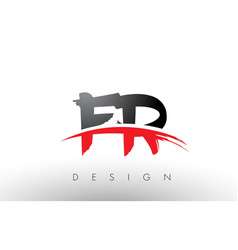 fr f r brush logo letters with red and black vector image