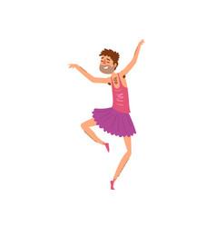 Funny bearded man dancing in tutu dress cartoon vector