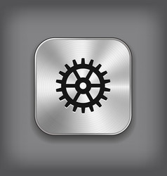 Gear icon - metal app button vector image