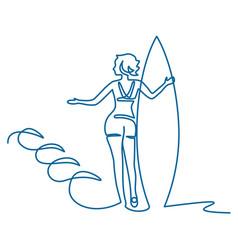 girl surfer athlete image vector image
