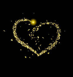 Gold pieces foil fly in shape a heart vector