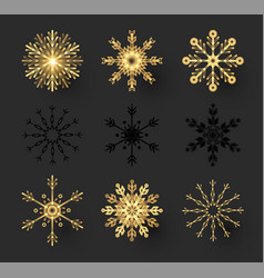 gold snowflakes set elegant design elements vector image