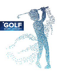 golf player silhouette grunge halftone vector image