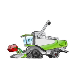 green harvester isolated on the white vector image