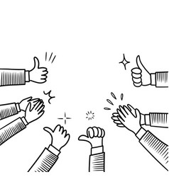 Hand drawn sketch style human hands clapping vector